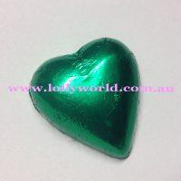 Green chocolate hearts