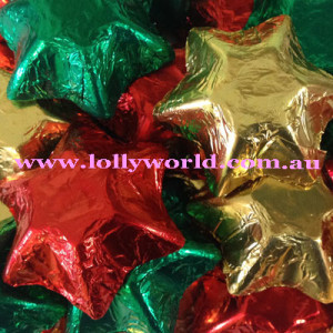 Chocolate Stars Red, Green and Gold 200g