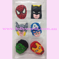 Cake Topper Hero Faces 6pc