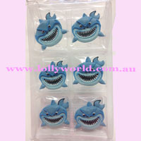 Cake Topper Angry Shark 6pc